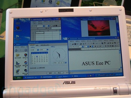 Windows XP on the 9-inch Eee PC.